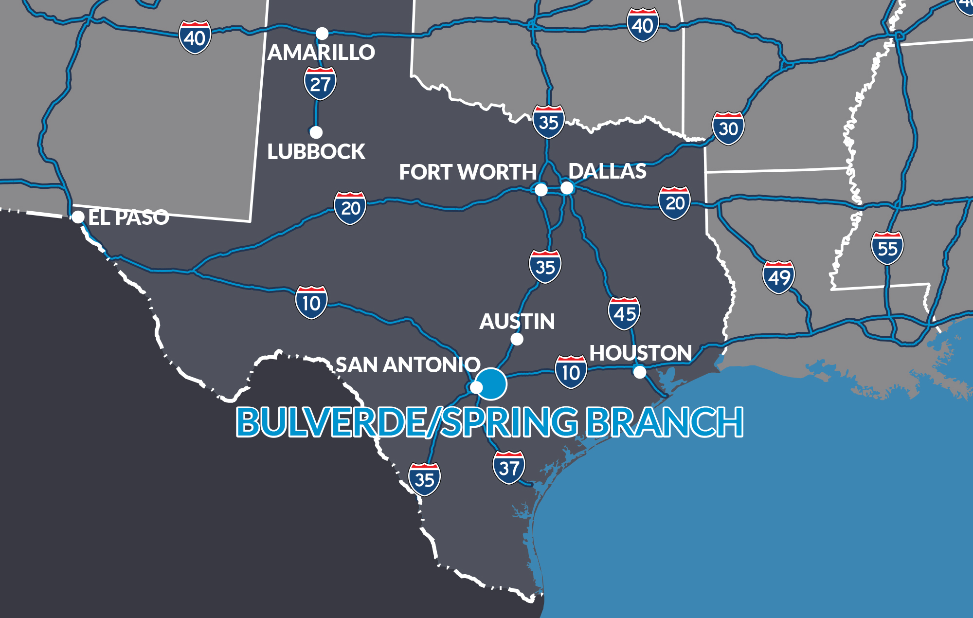 Map Of Texas Hill Country Cities.Strategic Location Bulverde Spring Branch Texas Edf
